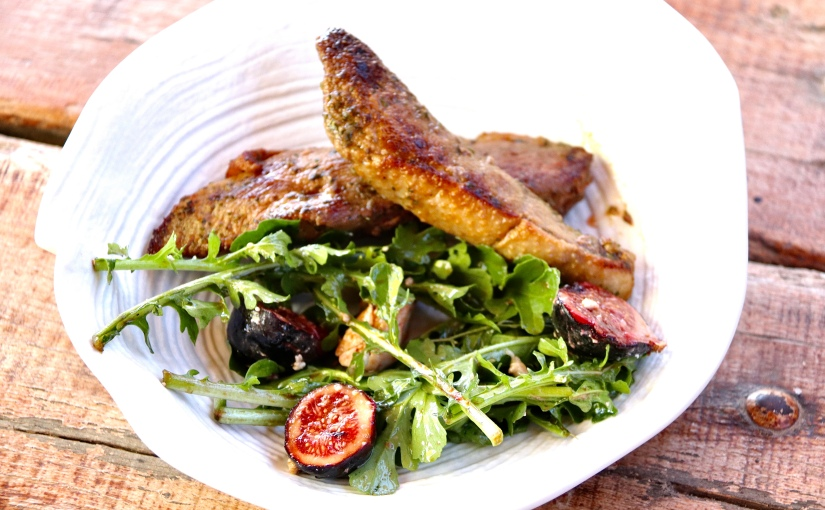 Magret de canard mariné – salade de roquette à la figue dujardin